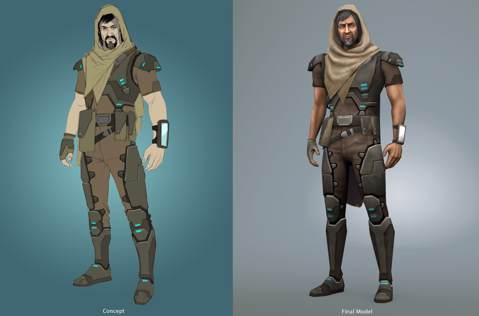 Concept art and final model.