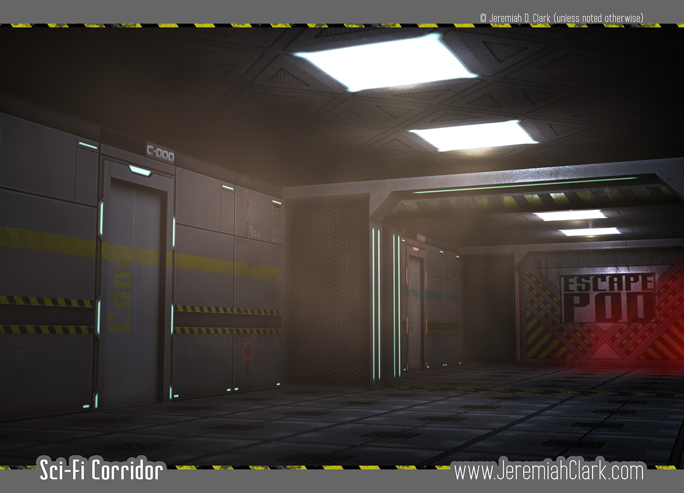 Sci-Fi Corridor full render.