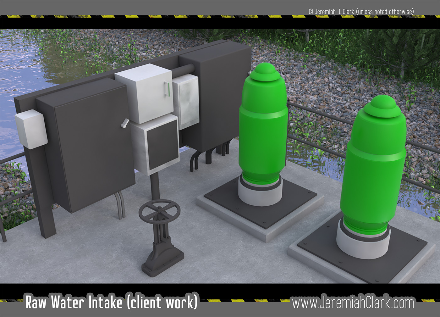 Raw Water Intake Screen.  Modeled and textured in 3Ds Max.  River stones and plants made using Itoo Forest Pack. Rendered with V-Ray.