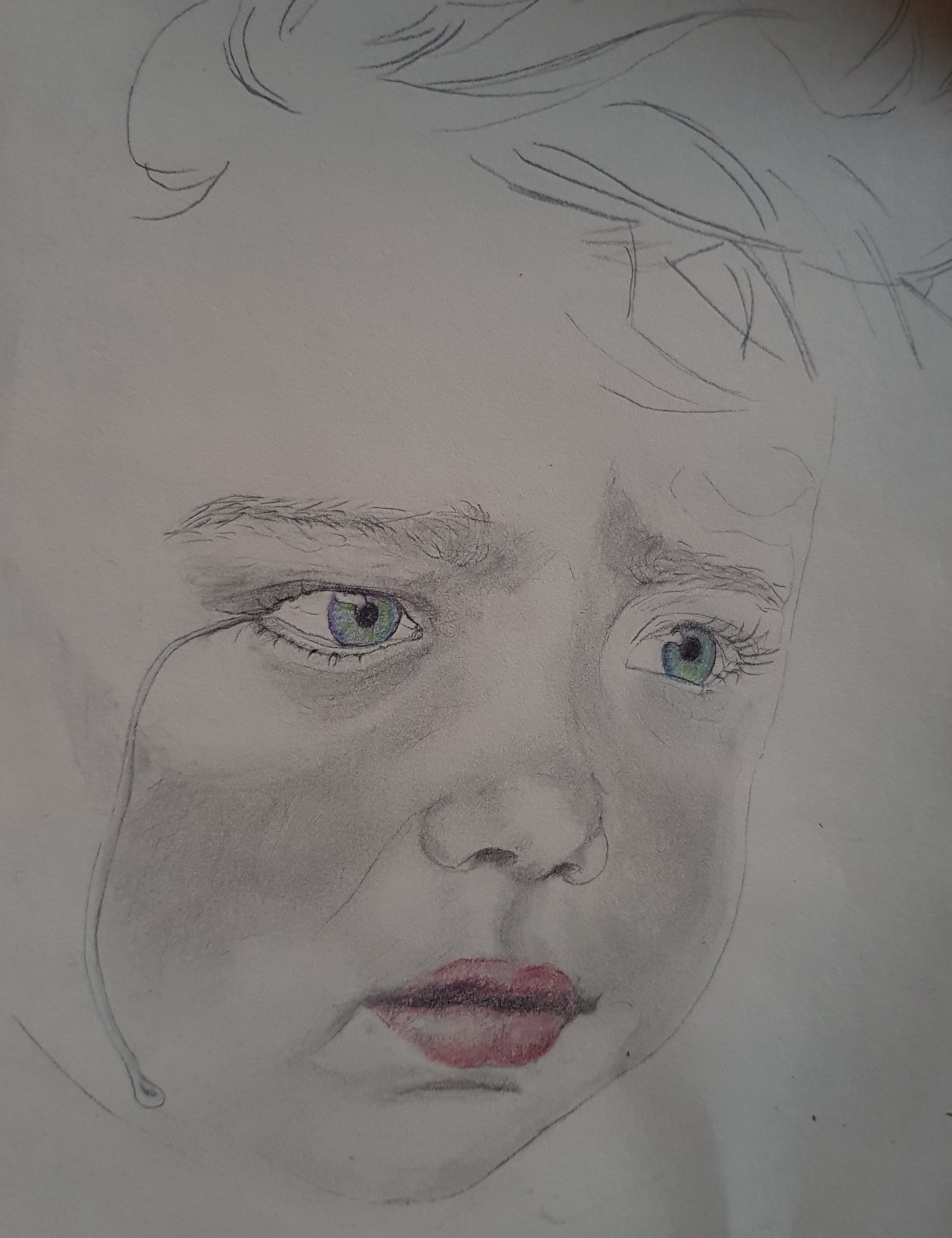 Crying boy pencil drawing