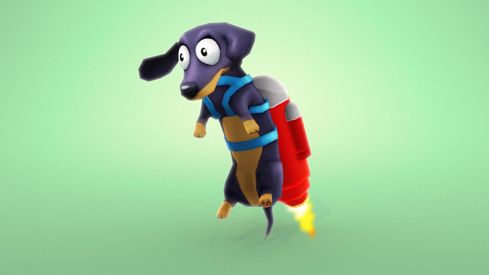 Obstacle. Jet pack sausage dog.