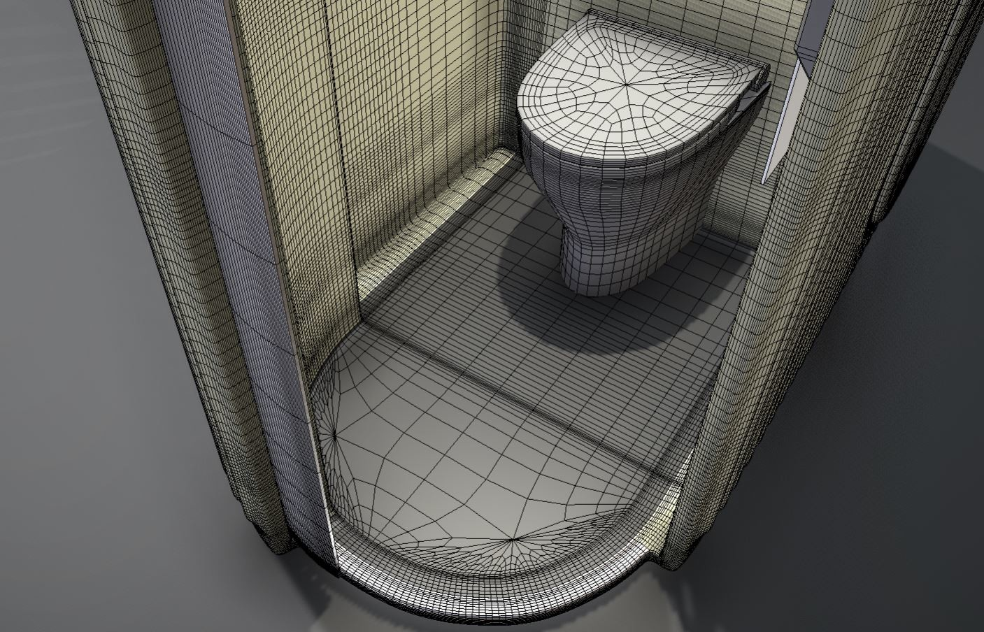 High-poly version with wireframe view