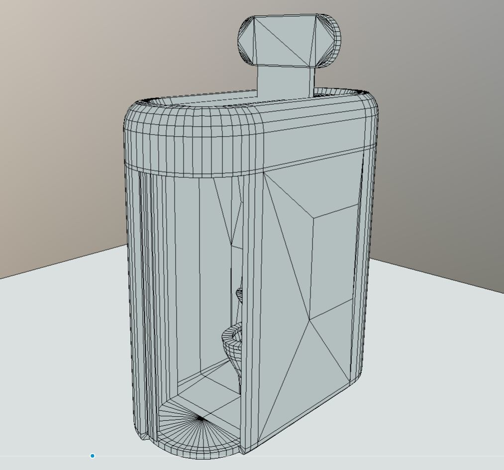 Low-poly version with wireframe view