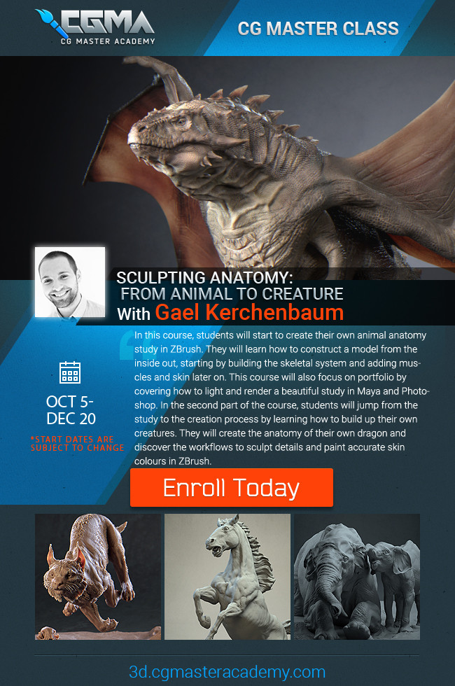 If you want to register yourself for the next classes, follow the link : https://www.cgmasteracademy.com/courses/94-sculpting-anatomy-from-animal-to-creature . The next class will start on October, so do not wait too long before jumping in !
