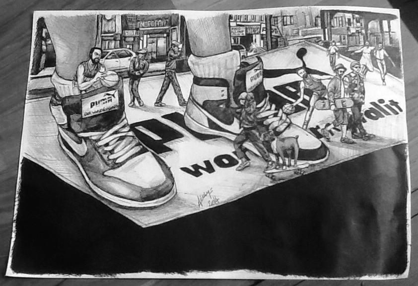Illustration au stylo bic noir A4 2014 par Auduge dit ALACASA