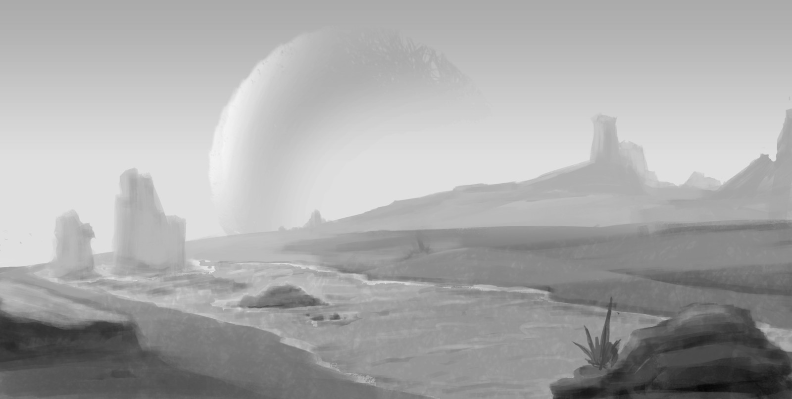 Distant Oasis  -  An imaginative environment value study.   water will flow through the most punishing terrains.