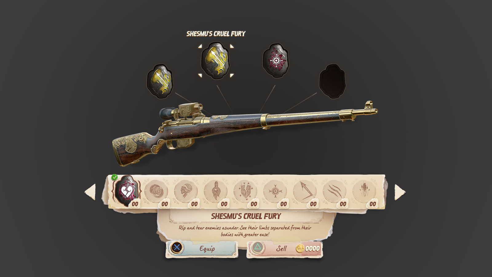 The Weapon Upgrades sub-screen, where the player can equip upgrade gems that they've found and collected throughout the game.