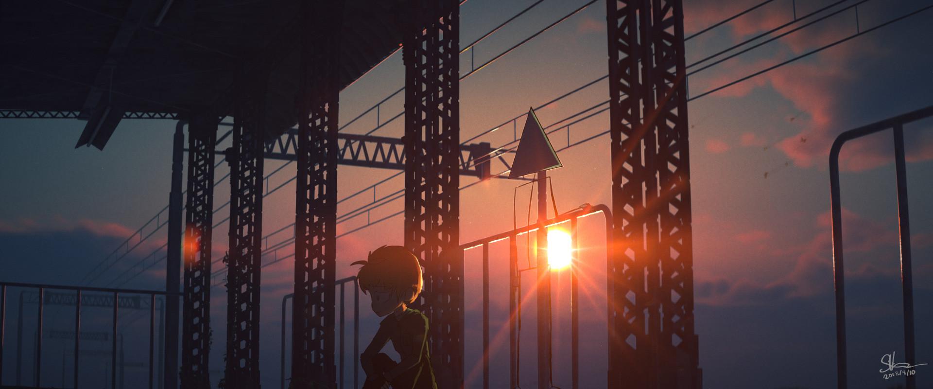 Sid and a triangle headed stick figure god watch a sunset.