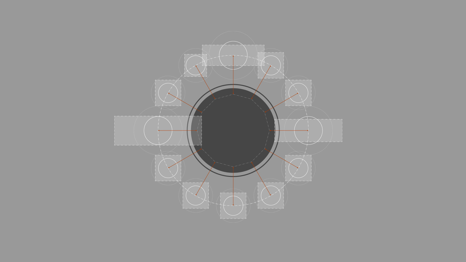 As the implementation of the Radial Wheel was very precise, the initial layout was designed with this in mind. This included the dimensions of the icons, highlights, etc., so that it could be iterated and translated into the engine much faster.
