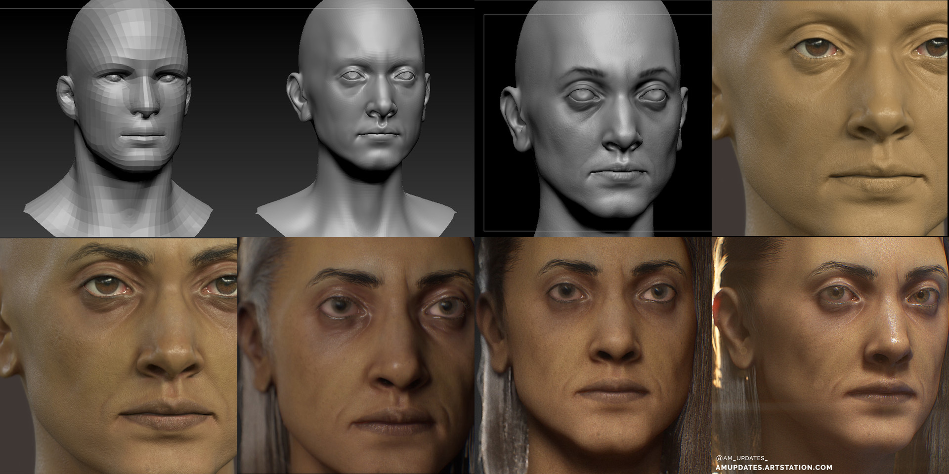 Sculpting Progression. #4 and #5 are Substance Painter screenshots — rendered in IRay.