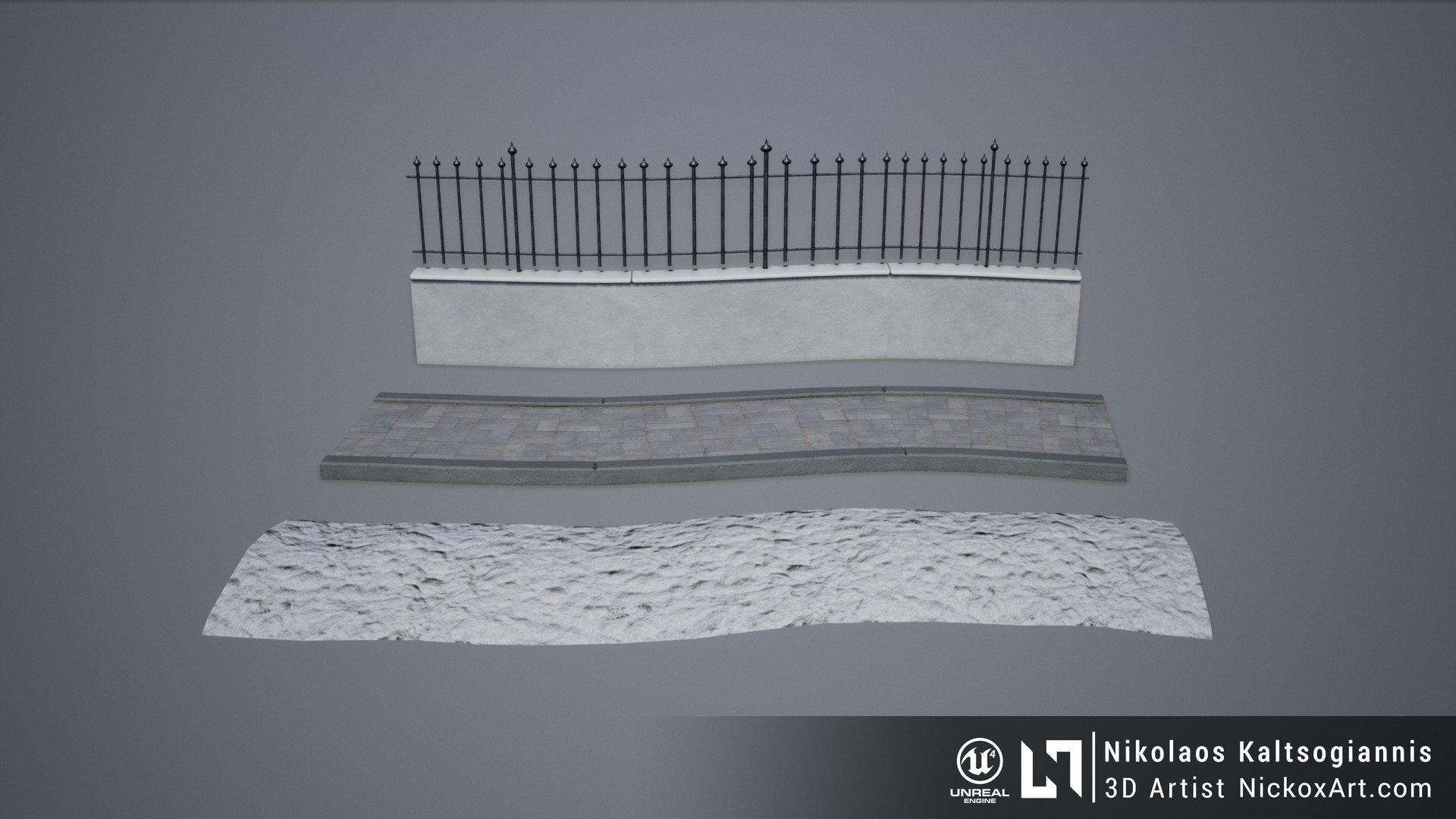 Example of Meshes used with a Spline Blueprint in UE4.