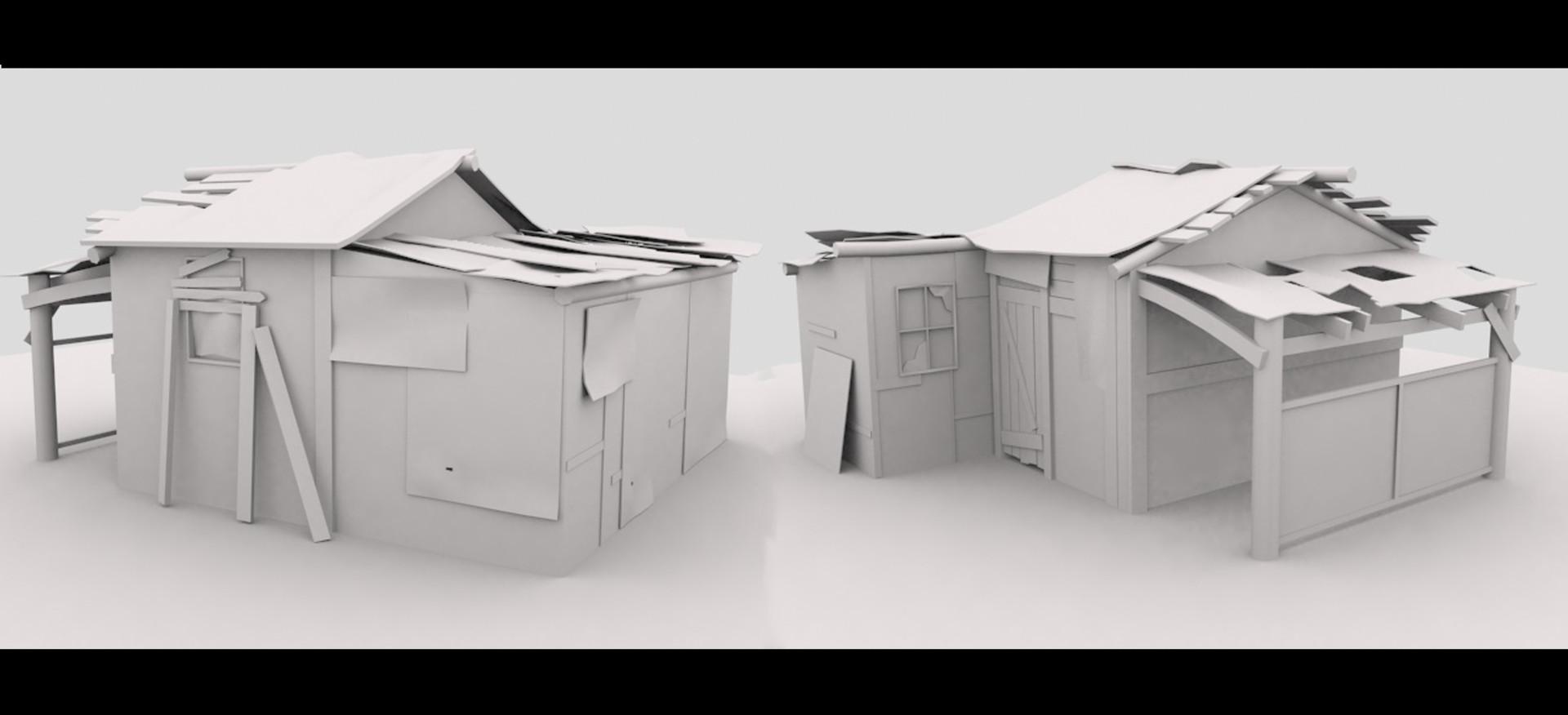 Michael tu shack clay render artstation