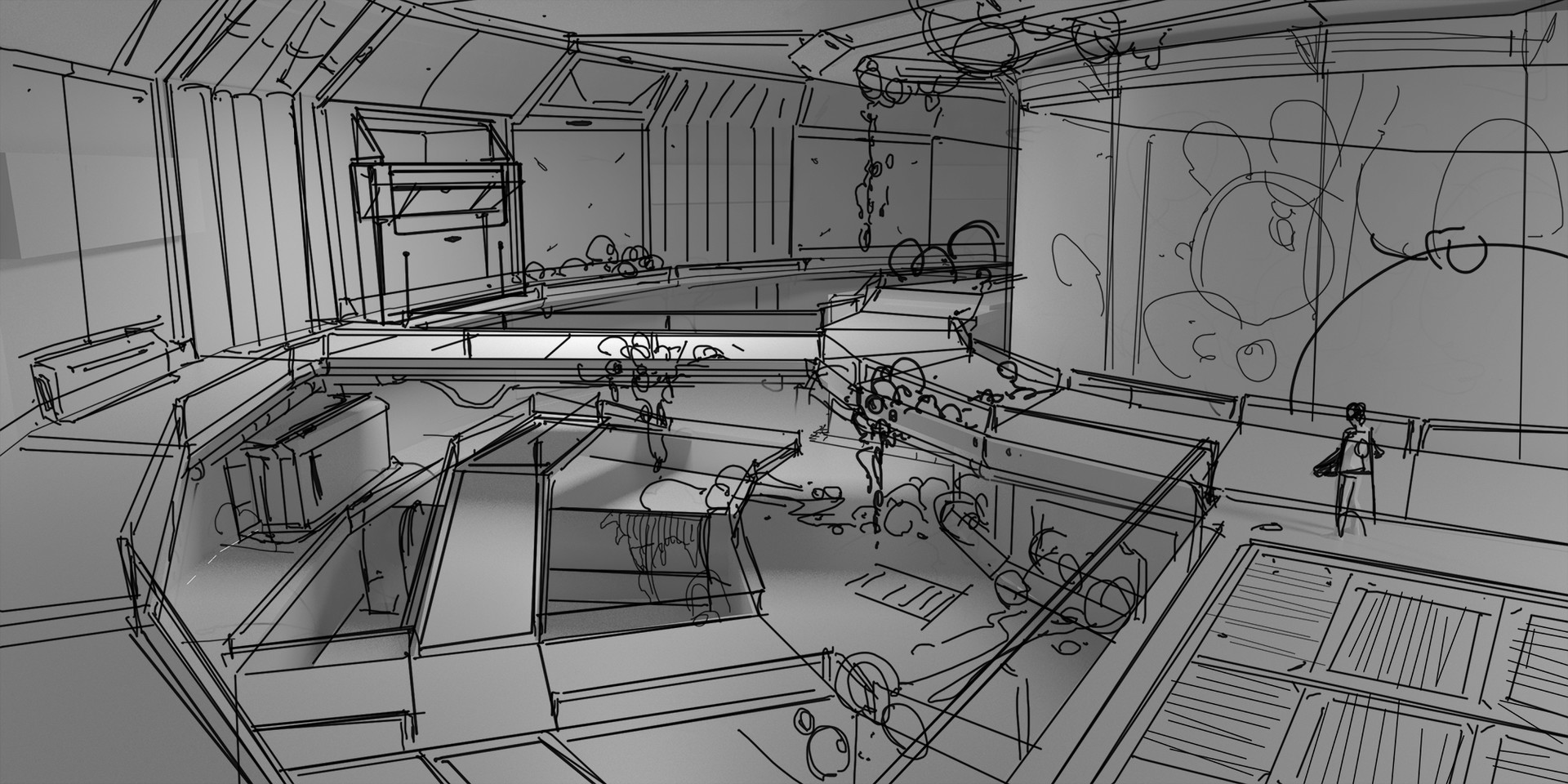 interior 1st sketch on top of rough 3d