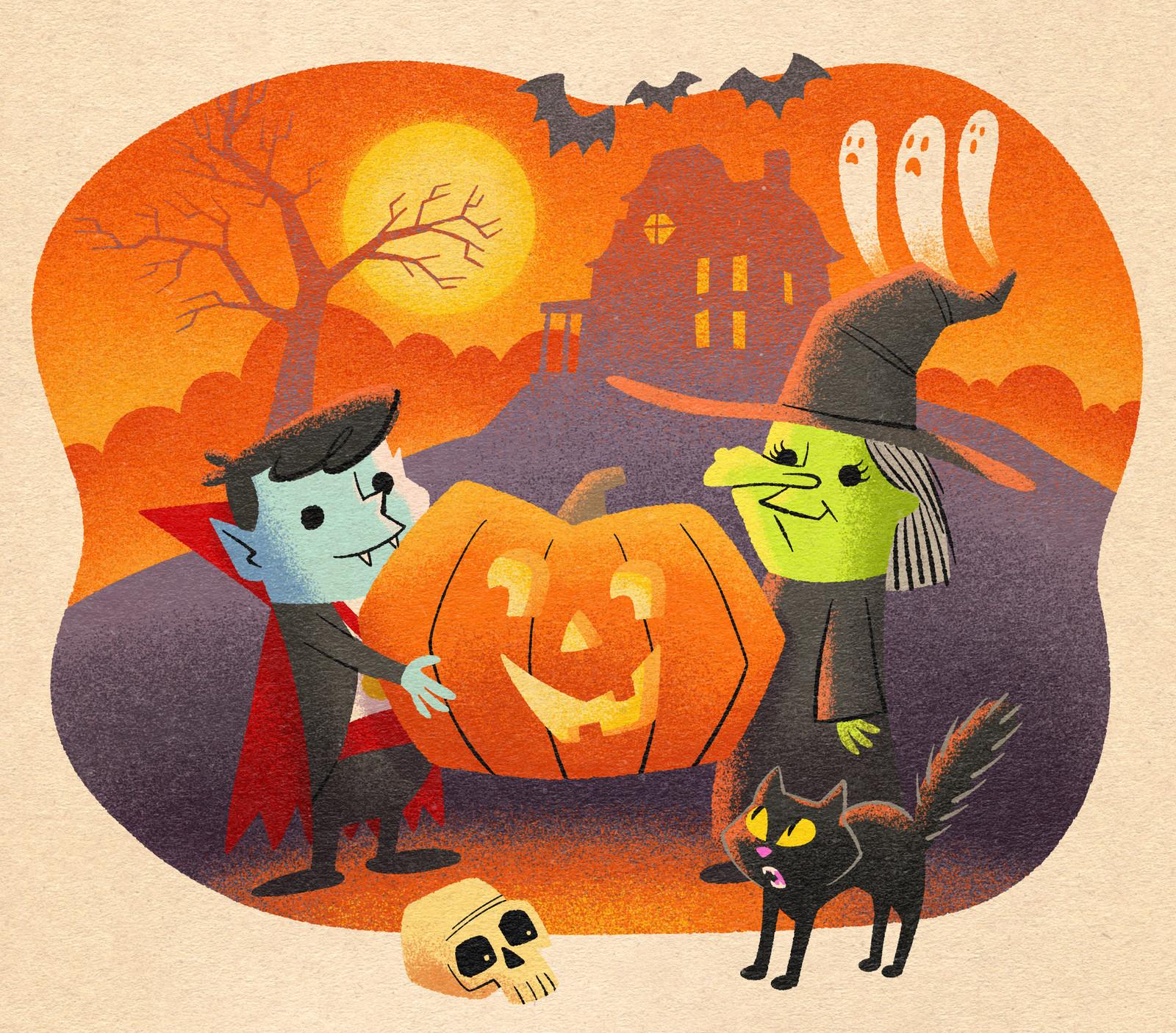 Vintage-style Halloween Art