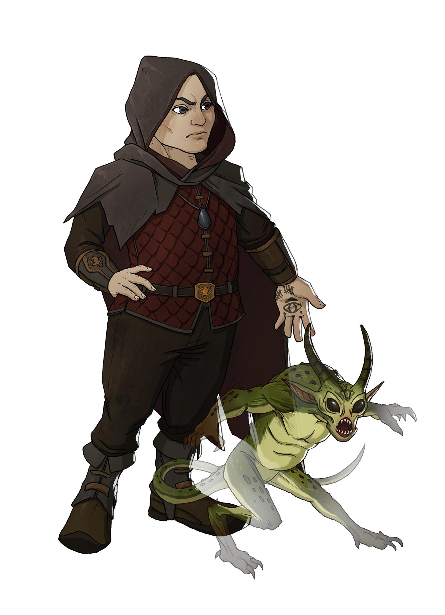 Fantasy Art Warlock With Familiar