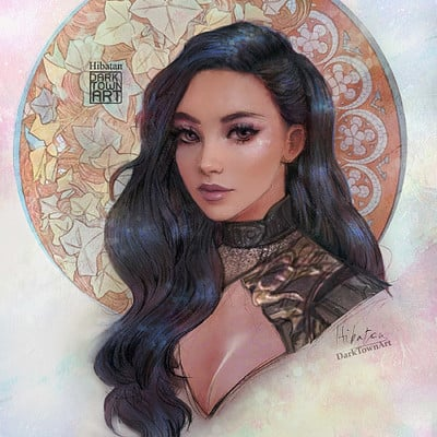 Lily Comic Collaborations + Art Nouveau inspired portrait art