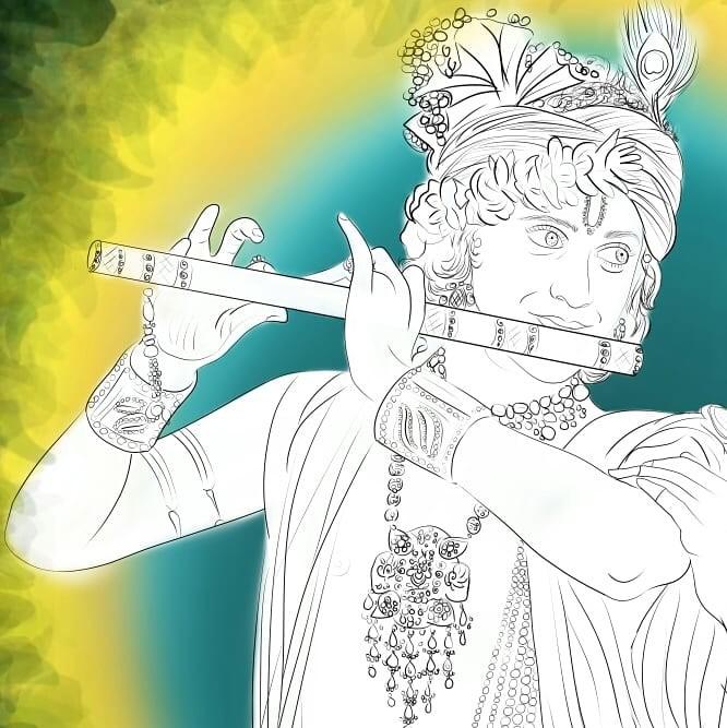 ArtStation - line art of Radhakrishna, Radhakrishnan serial on star