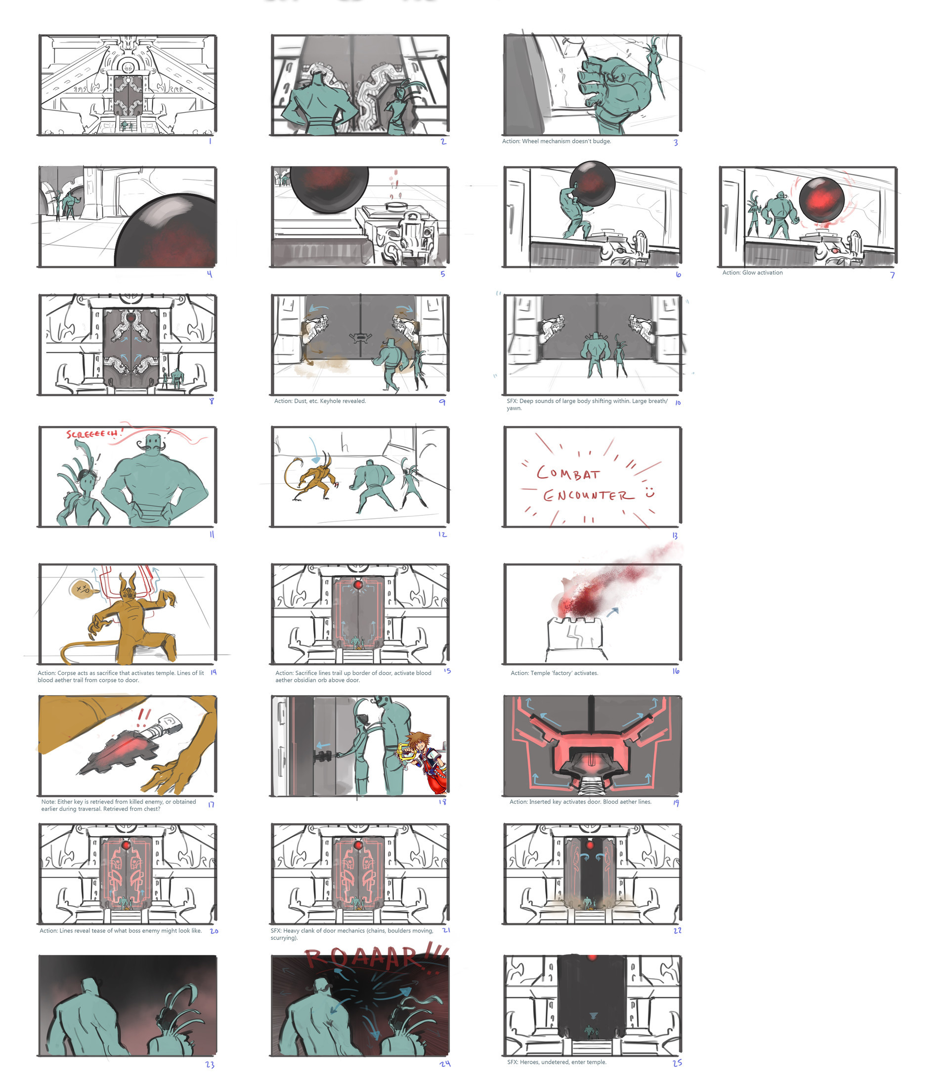 A quick 'n' dirty storyboard for opening a temple door. I overdid it a little with the process and eventually the entire scene was reduced to a quip between characters and simple key insertion. Still a very fun exploration!