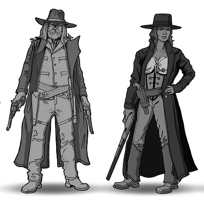 Travis lacey western characters concept sketches travis lacey web