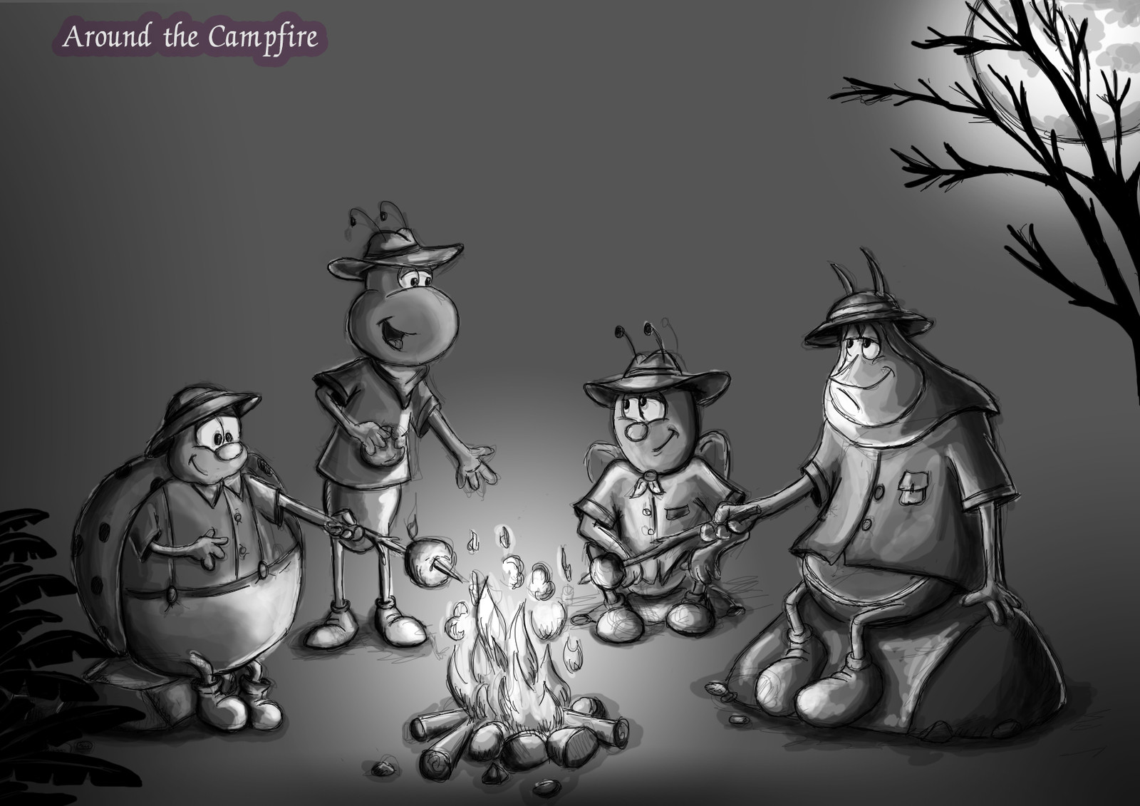 Camp fire, concept illustration in 4 steps