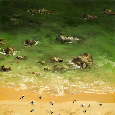 "Birds Beach -for sale 11.8x11.8"" (30x30cm)"