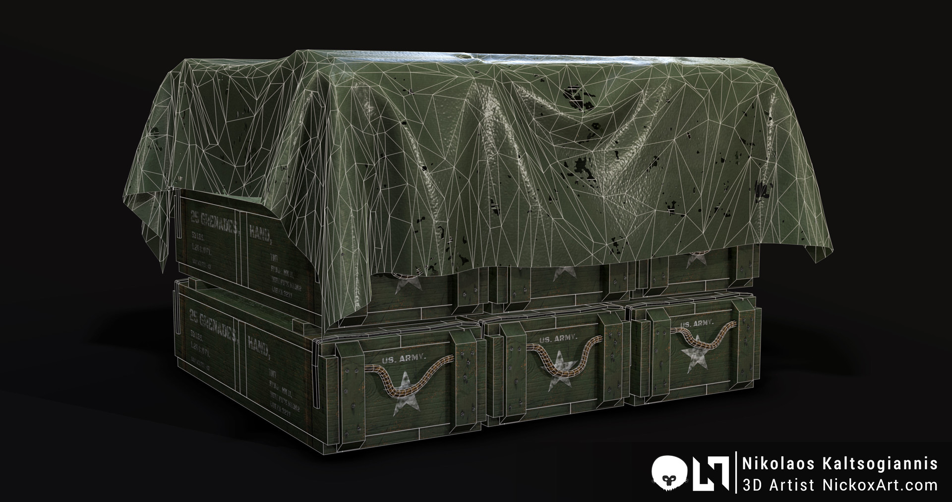 Grenade Crate Prefab Wireframe.