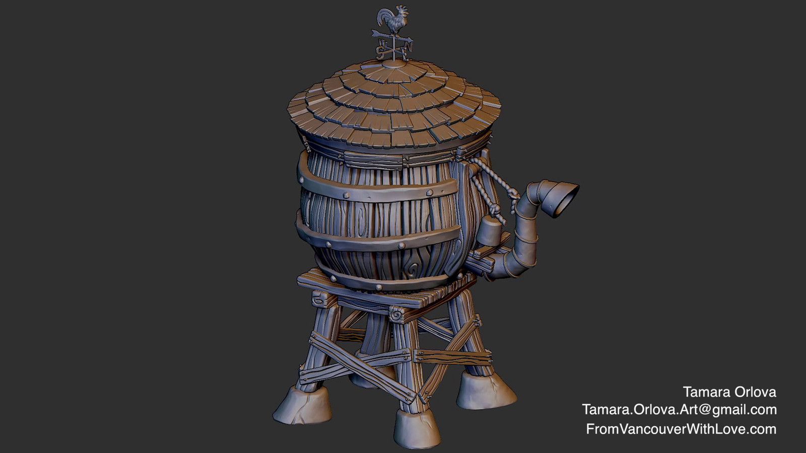 Stylized Water Tower Sculpt