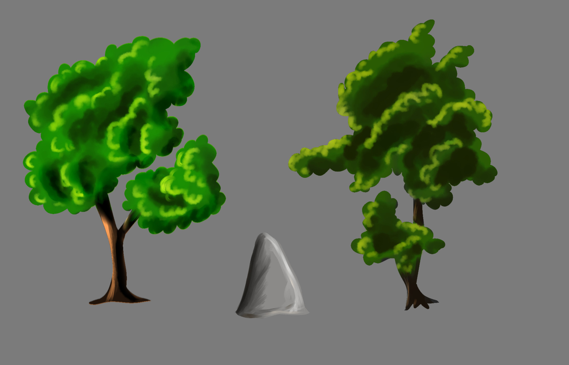 Background assets - Trees and stone