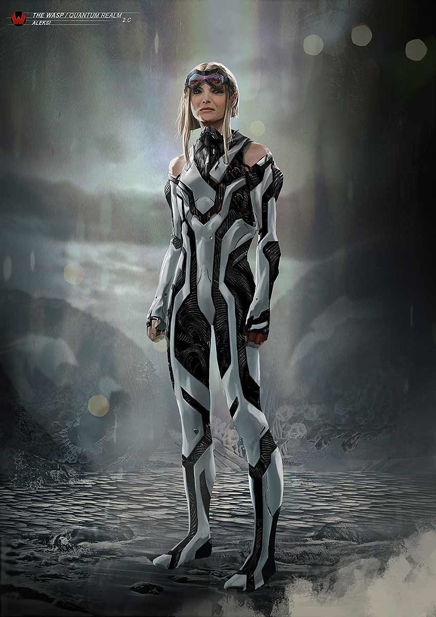On this one she kept the glasses from the helmet she was wearing in the first movie before entering the Quantic Realm.