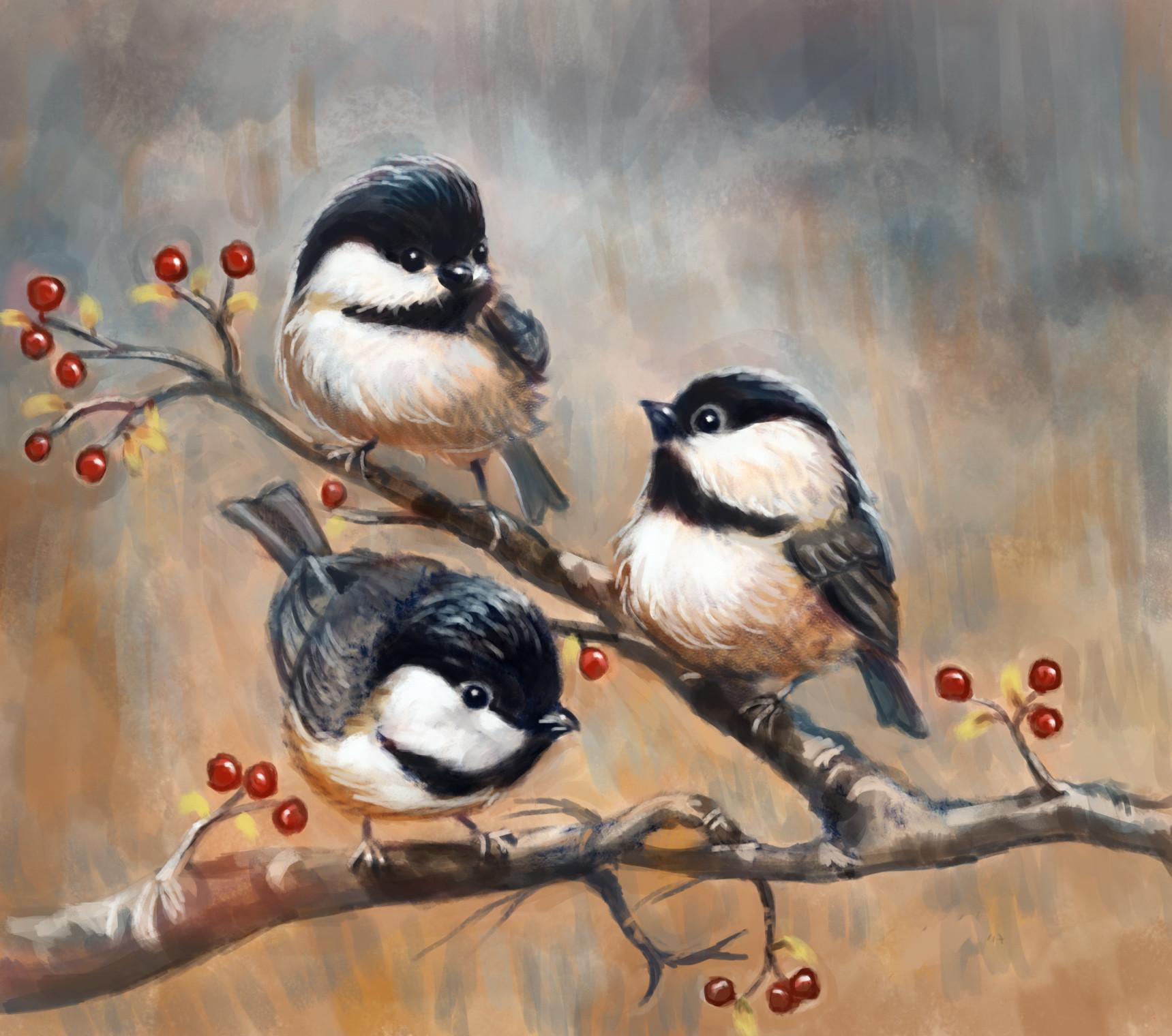 Okan bulbul little birds on a tree