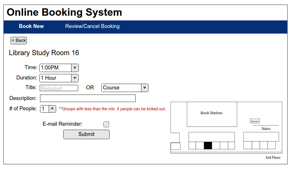 Booking Information page