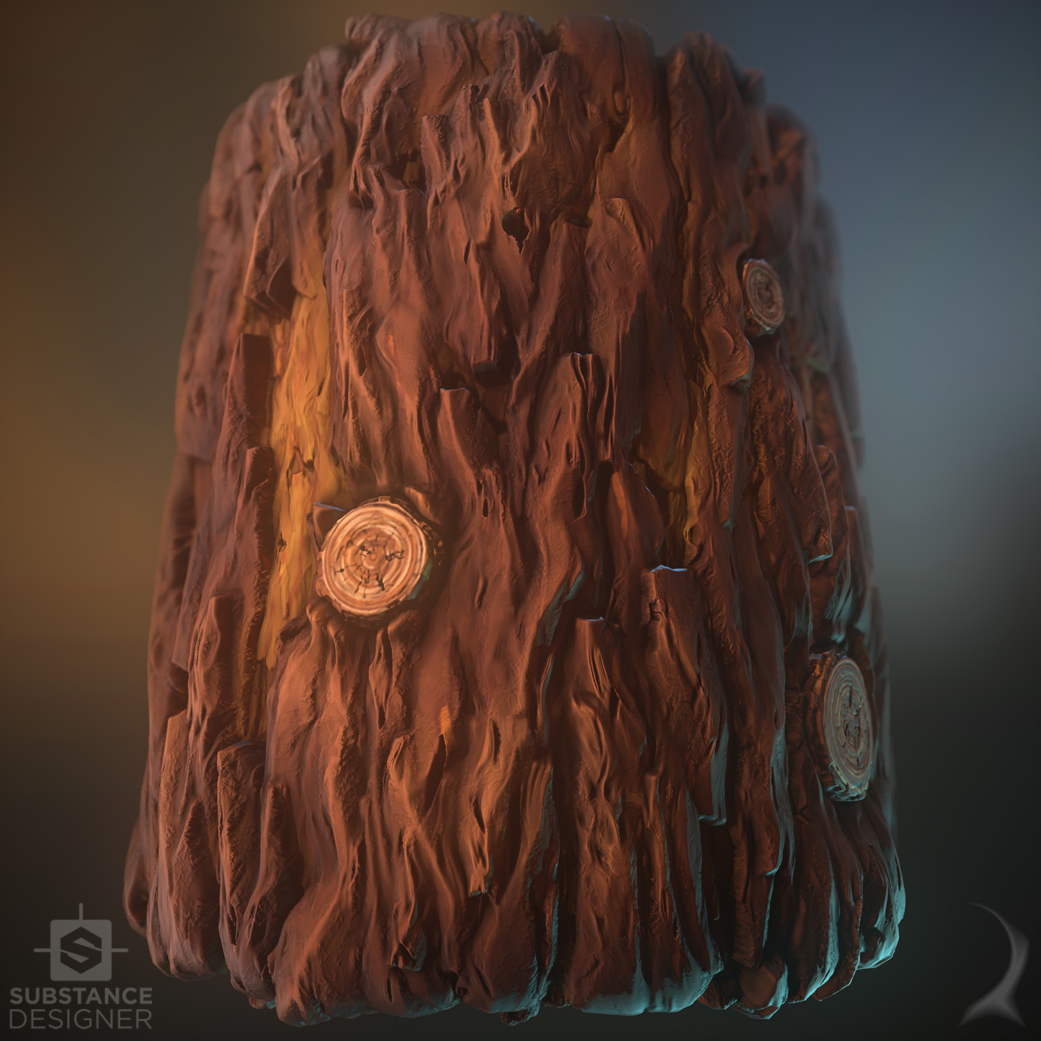 ArtStation - Stylized series - 3 materials (bark, grass