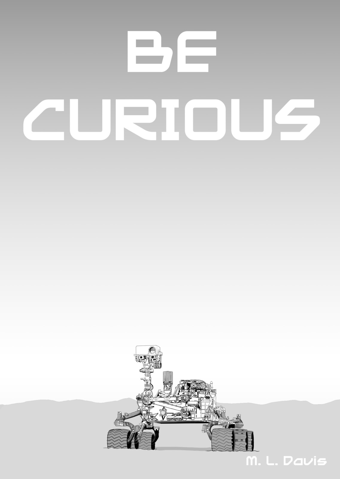 Cover, the Curiosity rover on the surface of mars.