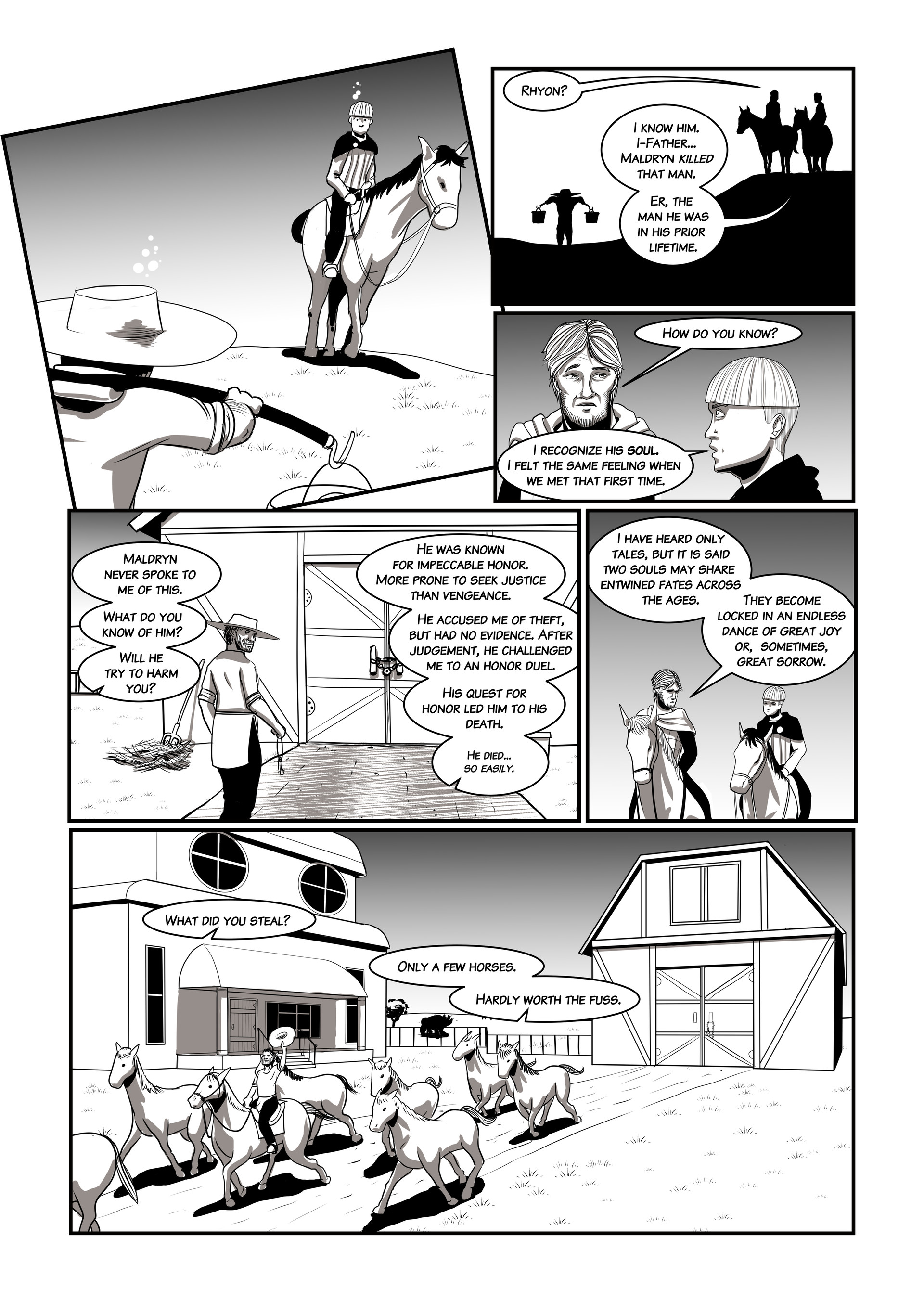 "Page 3 of ""Debts Owed,"" a short comic story for the upcoming online game Chronicles of Elyria."