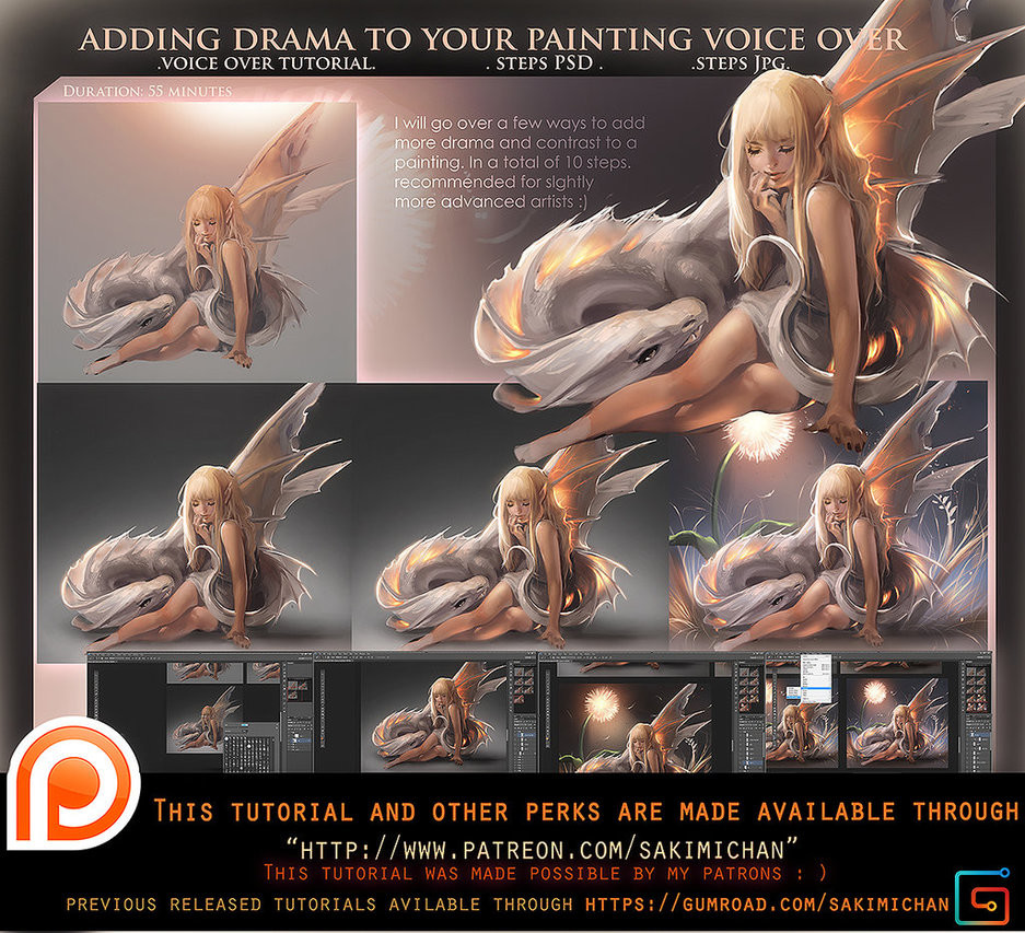Sakimi chan adding drama to your painting voiceover tutorial by sakimichan daorpcn