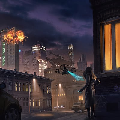 Travis lacey gencorp explosion concept city art travis lacey web