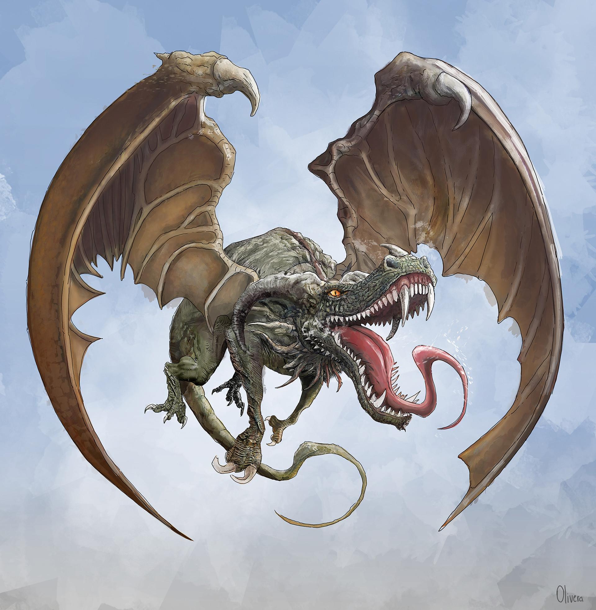 Pablo olivera dragon wacom first sketch color