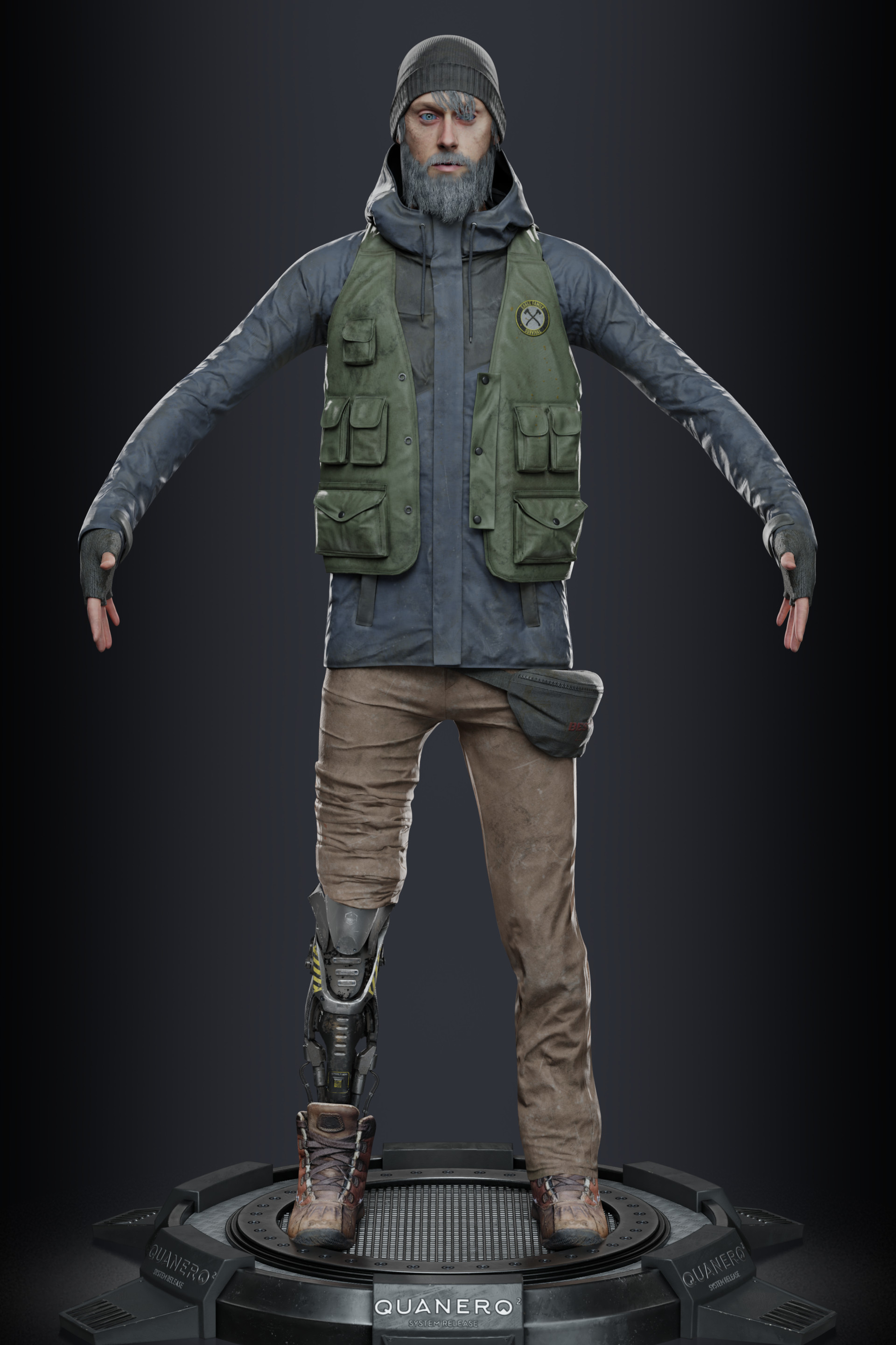 neutral A-pose rendering