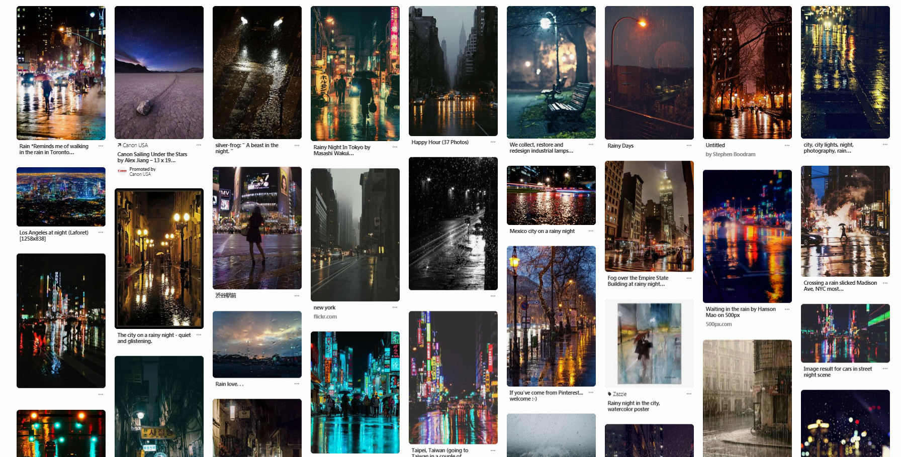 "Mood Board - from Pinterest ""Rainy City Night"""