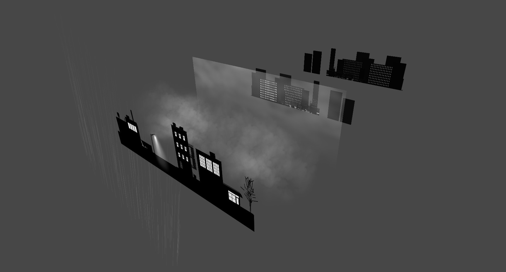 Layers in Unity. Rain, Foreground, Rolling Mist, Clouds, Mid ground, Background.
