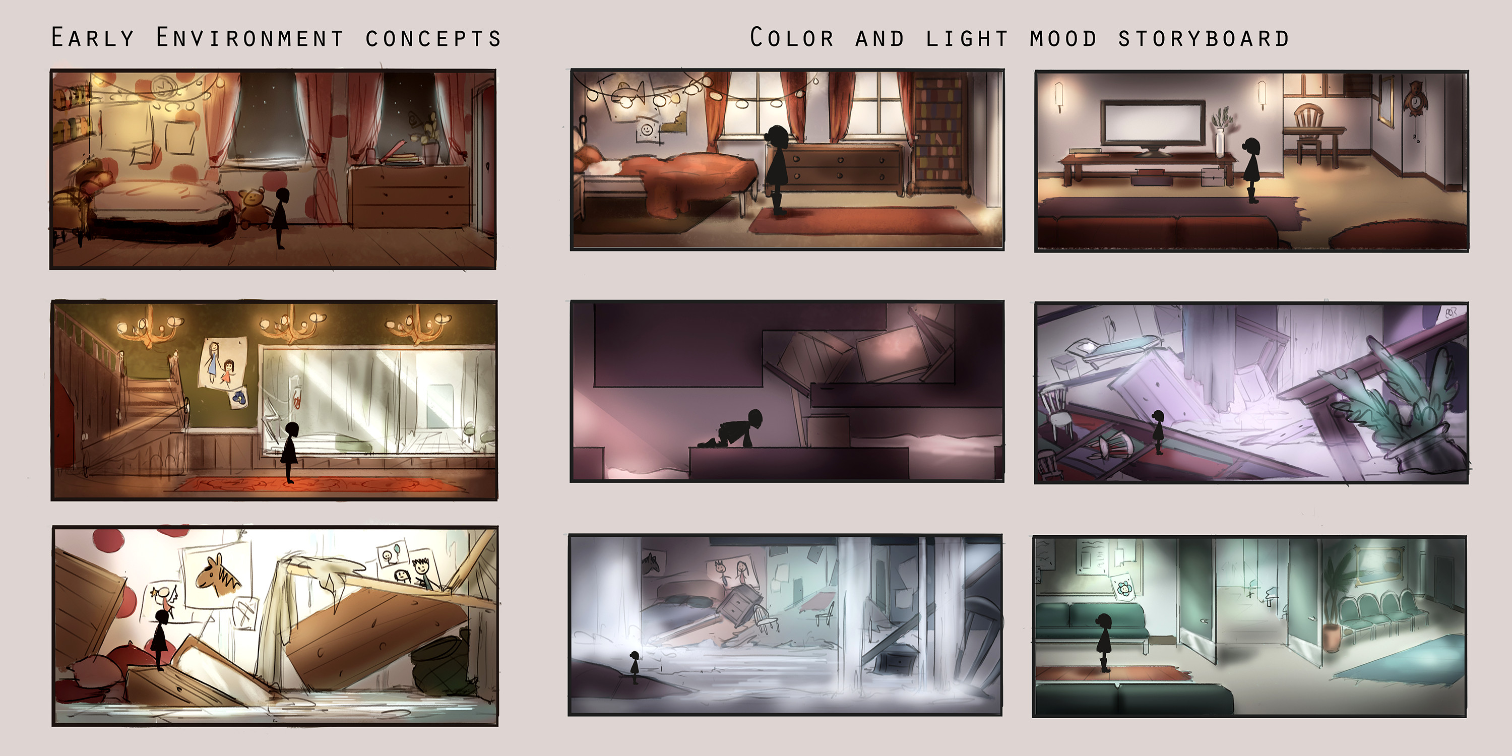Early environment concepts and storyboard for colors and mood throughout the game. The goal was to describe the mood and lighting throughout the game for the 3D artists.