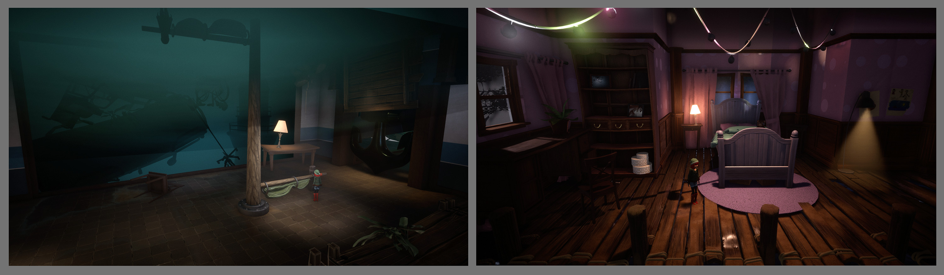 In game examples of the levels I did concept art for.
