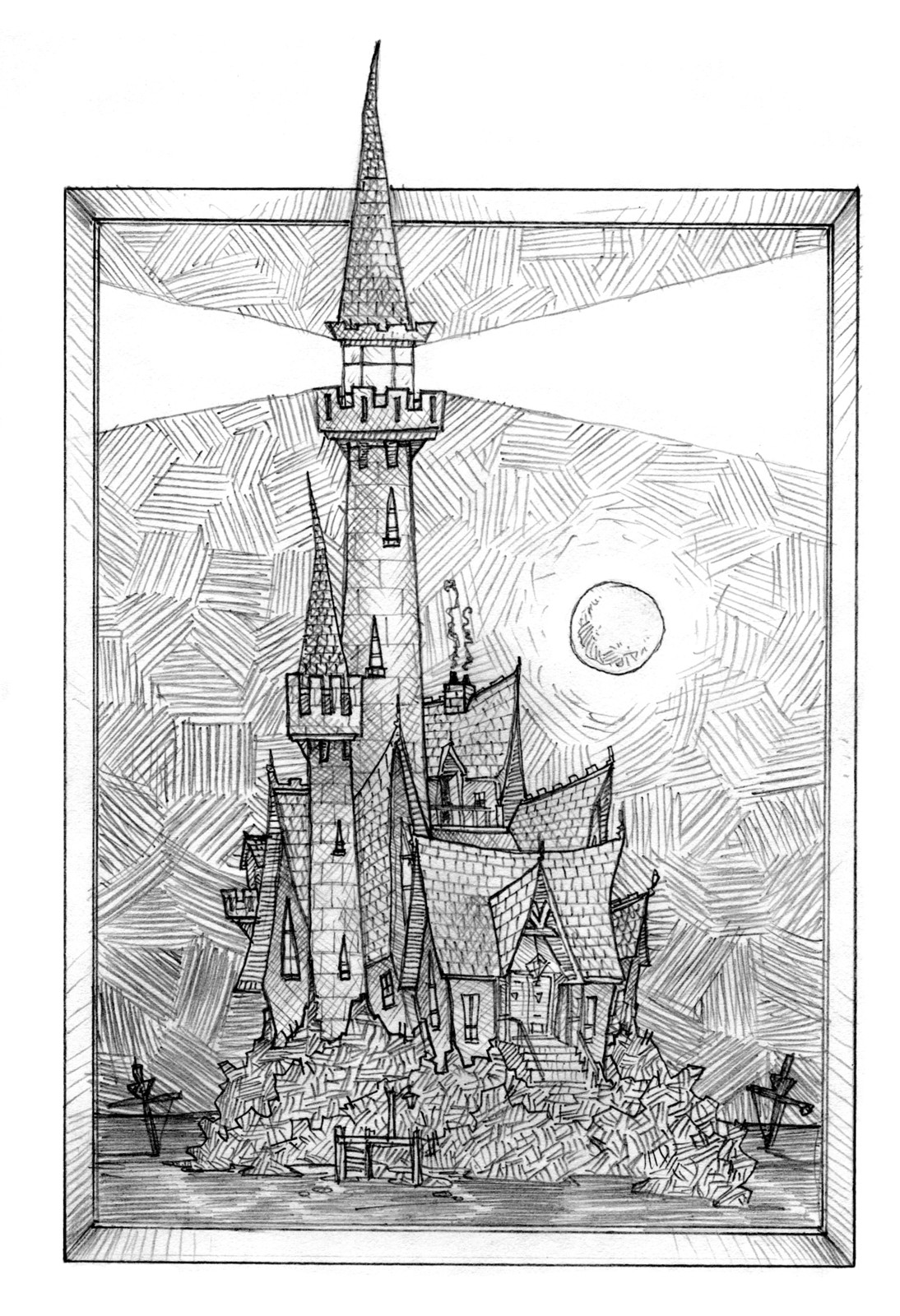 My illustration of the castle in the book.