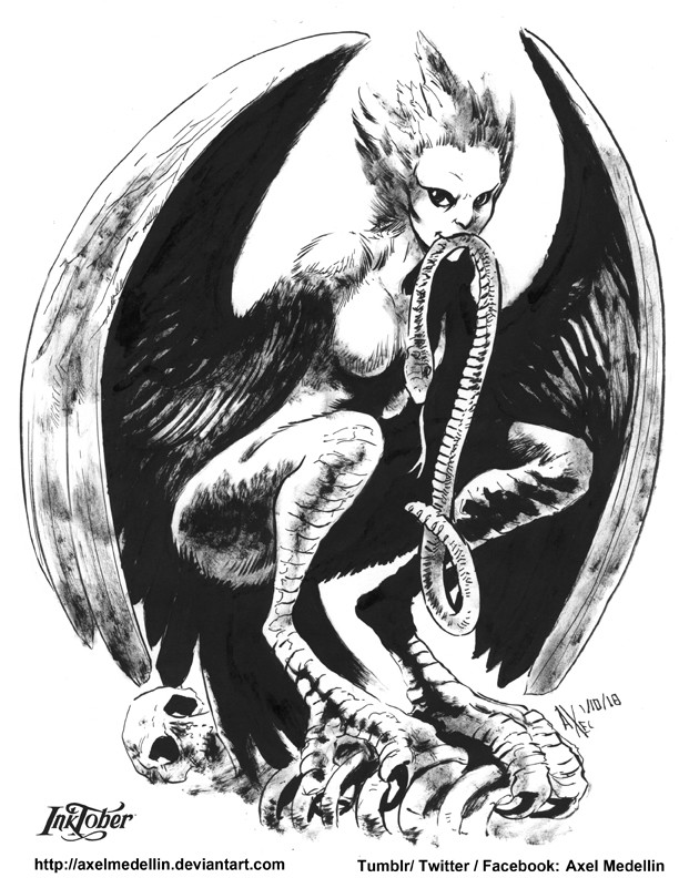 I've been doing a daily sketch for 2591 days now... it seems Inktober is a good excuse to start posting them here! This is the first Inktober of this year, I found a list of Monster Girls of the past year that I liked. Harpy.