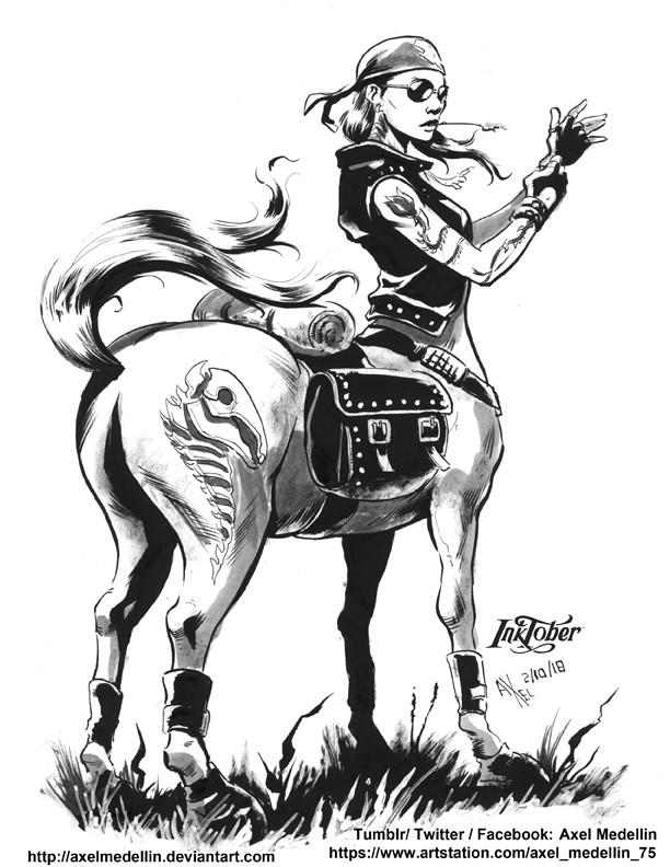 Inktober, day 2. Centaur Girl, Tranquil