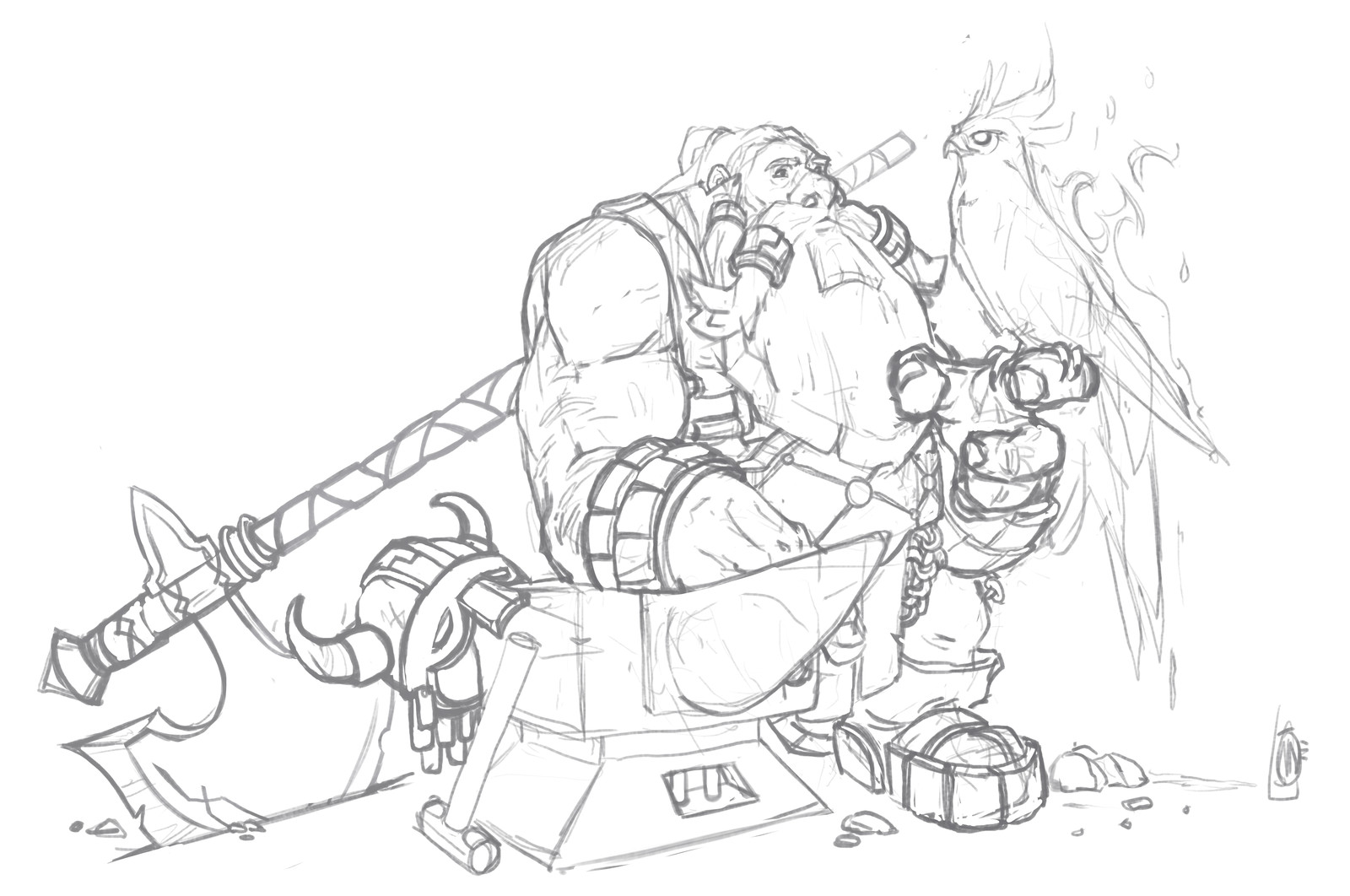 Blacksmith and his pet