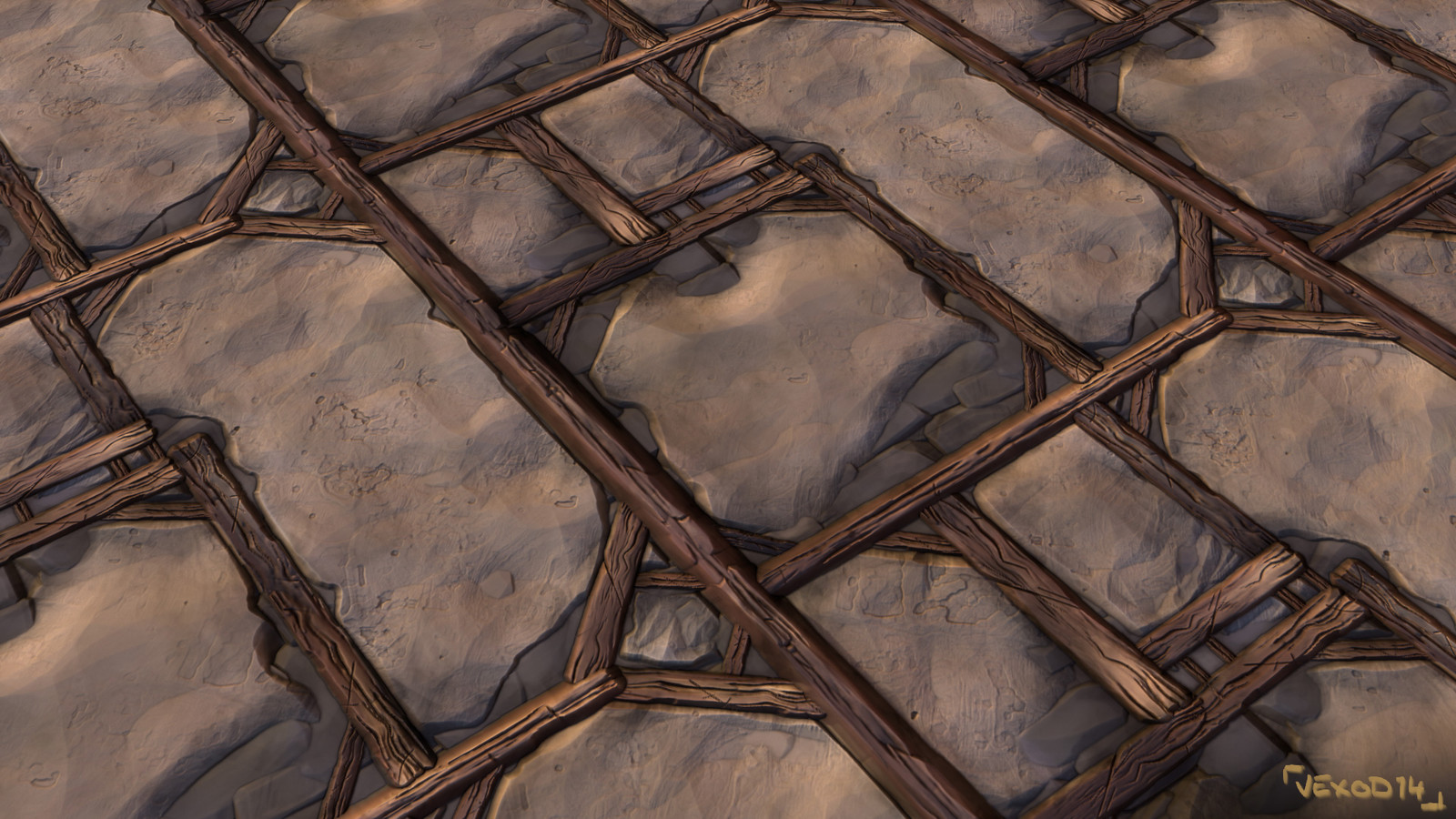 Tileable texture of timbered wall