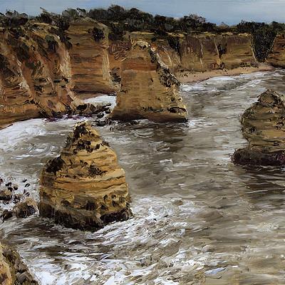 "Stormy Marinha beach 11.8x15.7"" (30x40cm)"