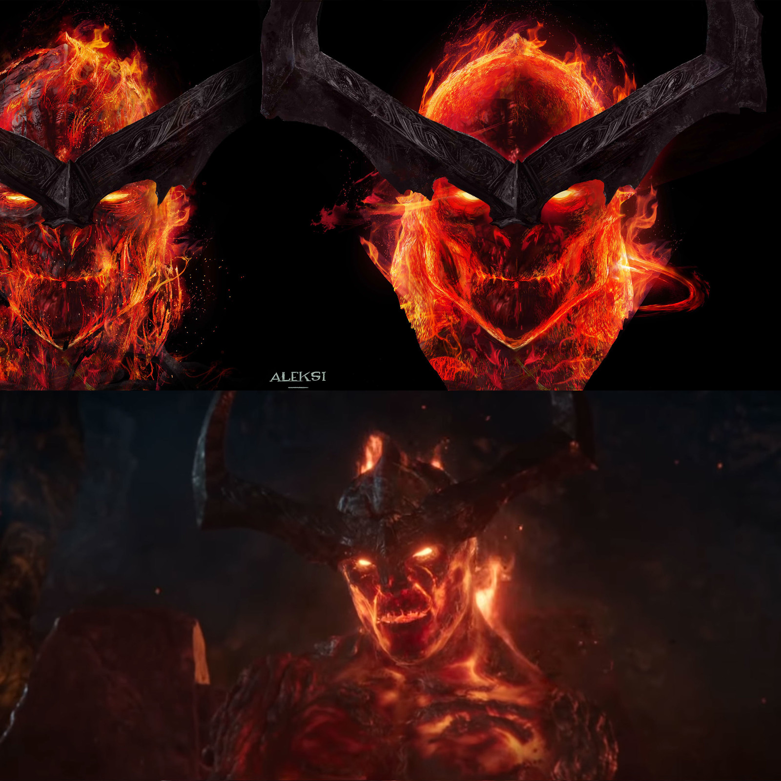 On top a close up of a concept art of Surtur focusing on the face and the facial animation. And bottom Surtur in the movie.