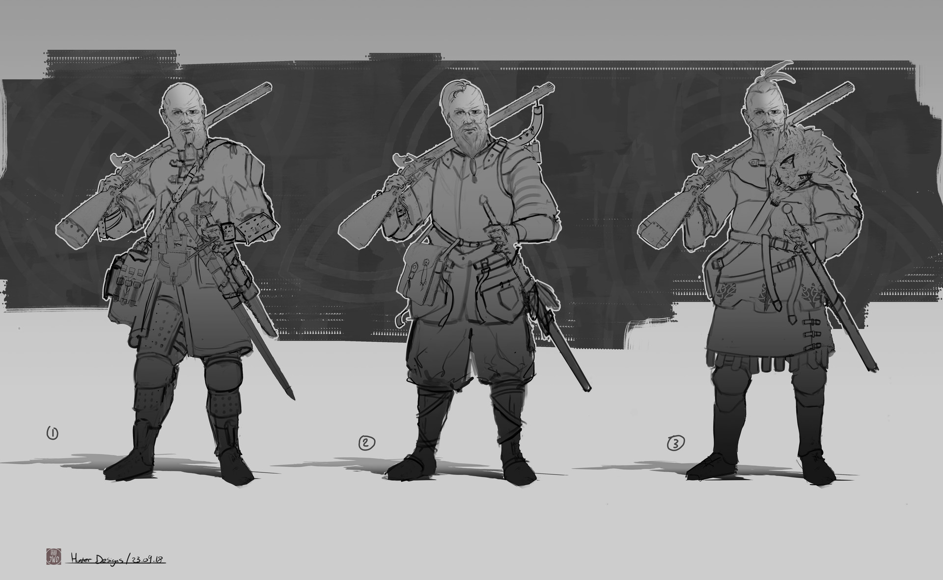 Jack dowell hunter designs line drawings